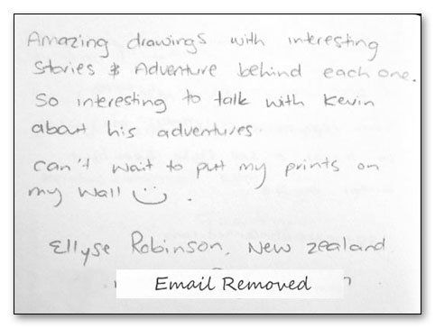 genuine hand-written testimonial from a happy customer who bought my pencil wildlife art